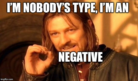 One Does Not Simply Meme | I'M NOBODY'S TYPE, I'M AN NEGATIVE | image tagged in memes,one does not simply | made w/ Imgflip meme maker