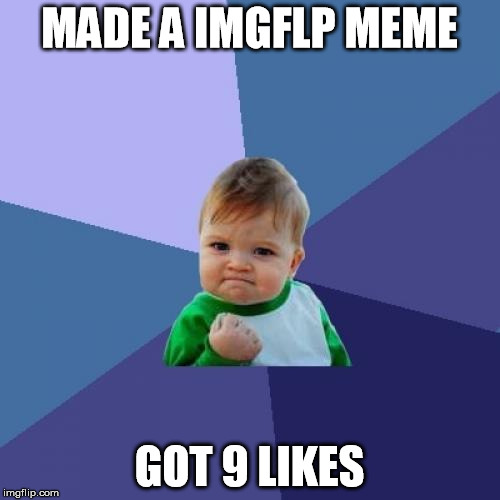Success Kid Meme | MADE A IMGFLP MEME GOT 9 LIKES | image tagged in memes,success kid | made w/ Imgflip meme maker