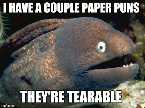 Bad Joke Eel Meme | I HAVE A COUPLE PAPER PUNS THEY'RE TEARABLE | image tagged in memes,bad joke eel | made w/ Imgflip meme maker