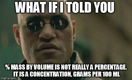 Matrix Morpheus Meme | WHAT IF I TOLD YOU % MASS BY VOLUME IS NOT REALLY A PERCENTAGE. IT IS A CONCENTRATION, GRAMS PER 100 ML | image tagged in memes,matrix morpheus | made w/ Imgflip meme maker