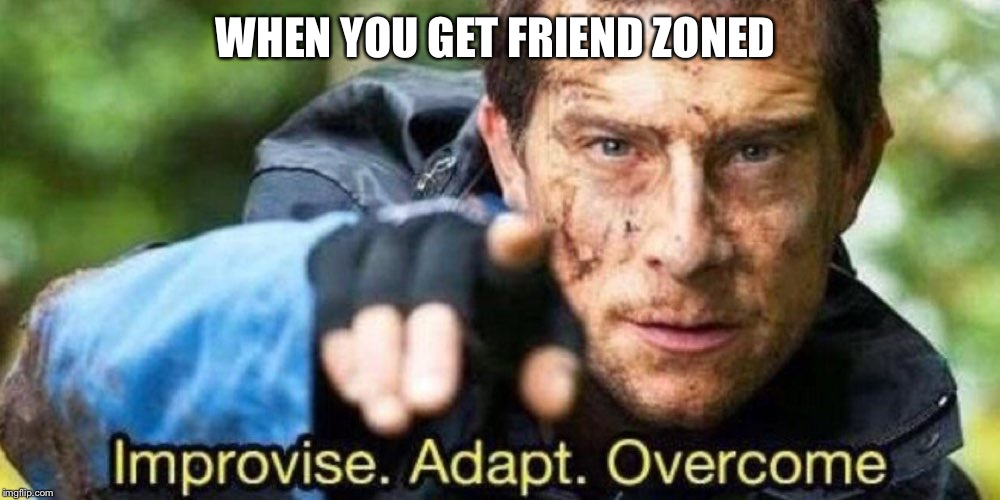 Improvise. Adapt. Overcome | WHEN YOU GET FRIEND ZONED | image tagged in improvise adapt overcome | made w/ Imgflip meme maker