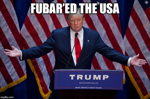 Donald Trump | FUBAR'ED THE USA | image tagged in donald trump | made w/ Imgflip meme maker