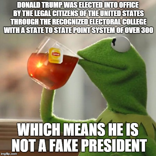 But Thats None Of My Business Meme | DONALD TRUMP WAS ELECTED INTO OFFICE BY THE LEGAL CITIZENS OF THE UNITED STATES THROUGH THE RECOGNIZED ELECTORAL COLLEGE WITH A STATE TO STA | image tagged in memes,but thats none of my business,kermit the frog | made w/ Imgflip meme maker
