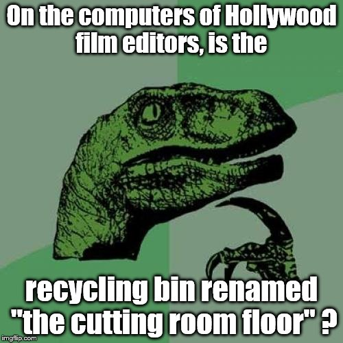 "Philosoraptor Meme | On the computers of Hollywood film editors, is the recycling bin renamed ""the cutting room floor"" ? 