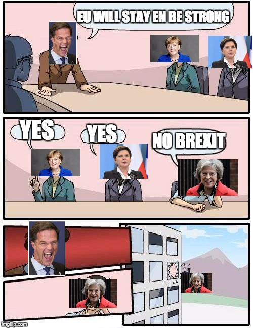 Boardroom Meeting Suggestion Meme | EU WILL STAY EN BE STRONG YES YES NO BREXIT | image tagged in memes,boardroom meeting suggestion | made w/ Imgflip meme maker