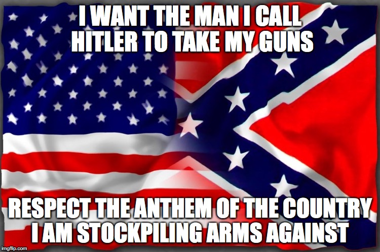 American Dichotomy | I WANT THE MAN I CALL HITLER TO TAKE MY GUNS RESPECT THE ANTHEM OF THE COUNTRY I AM STOCKPILING ARMS AGAINST | image tagged in alt right,alt left,antifa | made w/ Imgflip meme maker
