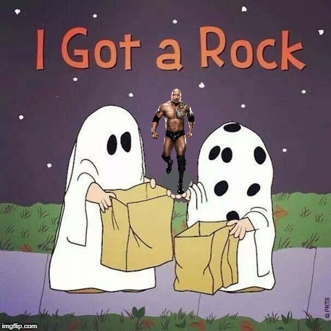 A Classic | image tagged in charlie brown,peanuts,great pumpkin,i love halloween,the rock,memes | made w/ Imgflip meme maker