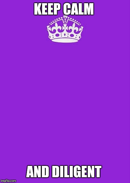 Keep Calm And Carry On Purple Meme | KEEP CALM AND DILIGENT | image tagged in memes,keep calm and carry on purple | made w/ Imgflip meme maker