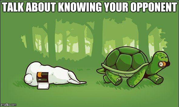 Sneaky tortoise!!! ≧◔◡◔≦ |  TALK ABOUT KNOWING YOUR OPPONENT | image tagged in memes,funny,duracell bunny,tortoise hare race,story,fables | made w/ Imgflip meme maker