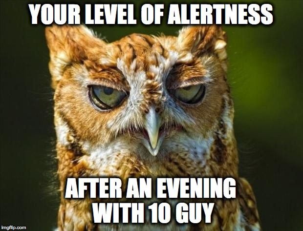 An Evening with 10 Guy | YOUR LEVEL OF ALERTNESS AFTER AN EVENING WITH 10 GUY | image tagged in stoned out of his tree | made w/ Imgflip meme maker