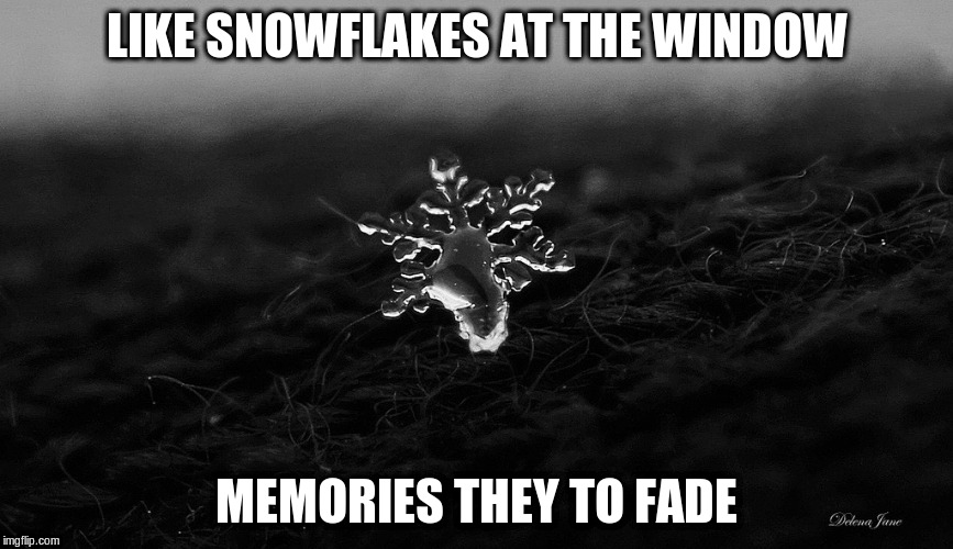 LIKE SNOWFLAKES AT THE WINDOW MEMORIES THEY TO FADE | made w/ Imgflip meme maker