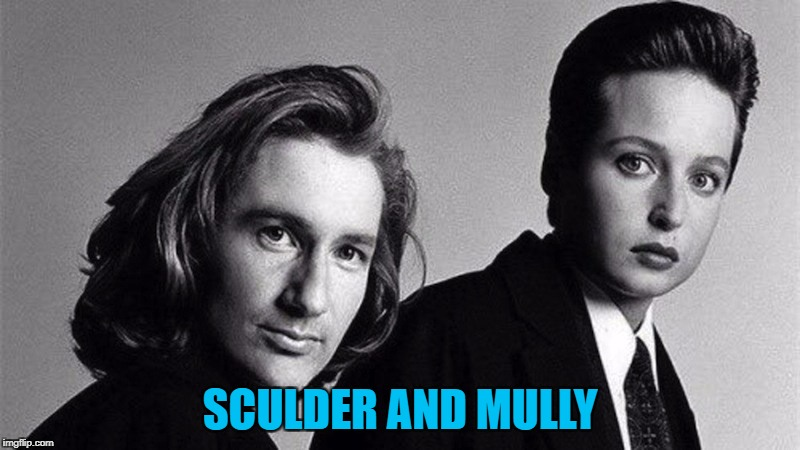 Black and white week - a Pipe_Picasso and Dashhopes extravaganza... :) | SCULDER AND MULLY | image tagged in memes,black and white week,x-files,mulder and scully,face swap,tv | made w/ Imgflip meme maker