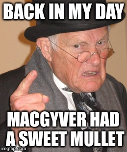 Back In My Day Meme | BACK IN MY DAY MACGYVER HAD A SWEET MULLET | image tagged in memes,back in my day | made w/ Imgflip meme maker