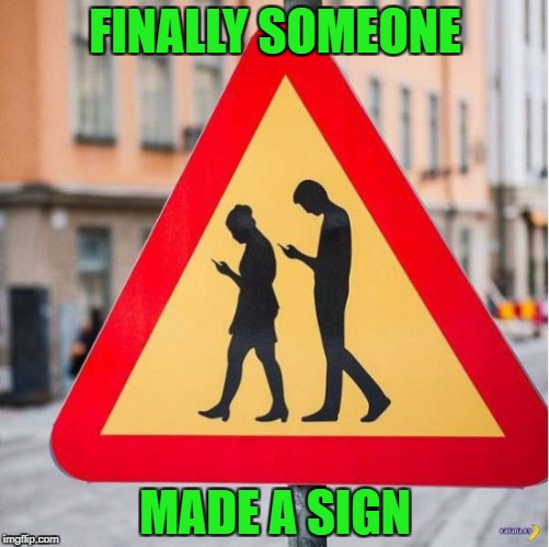 You knew it was gonna happen sooner or later! |  FINALLY SOMEONE; MADE A SIGN | image tagged in funny signs,memes,people on cell phone crossing,funny,signs,zombies | made w/ Imgflip meme maker