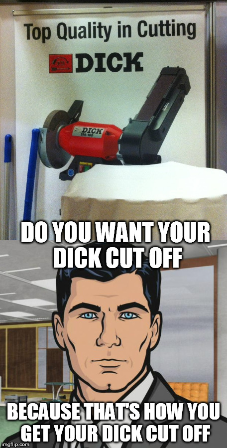 DO YOU WANT YOUR DICK CUT OFF BECAUSE THAT'S HOW YOU GET YOUR DICK CUT OFF | image tagged in cutting,dick,archer | made w/ Imgflip meme maker