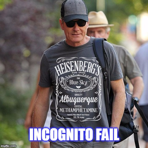 byran cranston | INCOGNITO FAIL | image tagged in heisenberg,breaking bad,actor | made w/ Imgflip meme maker