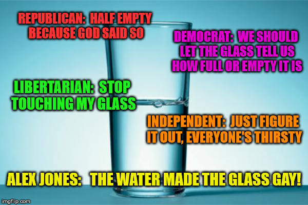 Modern Politics In A Glass | REPUBLICAN:  HALF EMPTY BECAUSE GOD SAID SO DEMOCRAT:  WE SHOULD LET THE GLASS TELL US HOW FULL OR EMPTY IT IS LIBERTARIAN:  STOP TOUCHING M | image tagged in glass half full,alex jones,republican,democrat,independent | made w/ Imgflip meme maker