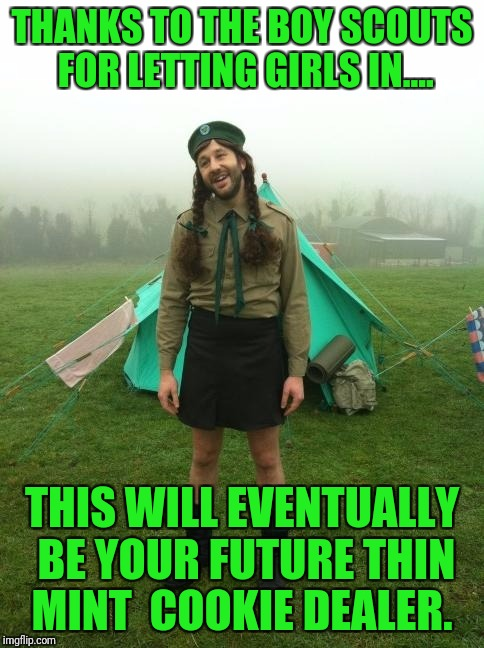 The future of the scouts | THANKS TO THE BOY SCOUTS FOR LETTING GIRLS IN.... THIS WILL EVENTUALLY BE YOUR FUTURE THIN MINT  COOKIE DEALER. | image tagged in cookies,girl scouts,boy scouts | made w/ Imgflip meme maker