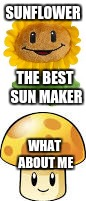 sunflower | SUNFLOWER WHAT ABOUT ME THE BEST SUN MAKER | image tagged in pvz,memes | made w/ Imgflip meme maker