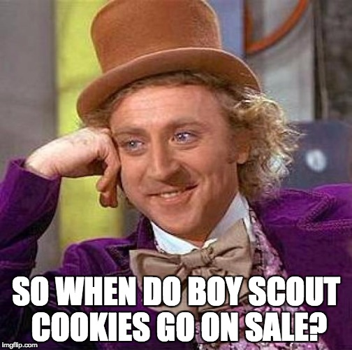 Creepy Condescending Wonka Meme | SO WHEN DO BOY SCOUT COOKIES GO ON SALE? | image tagged in memes,creepy condescending wonka | made w/ Imgflip meme maker