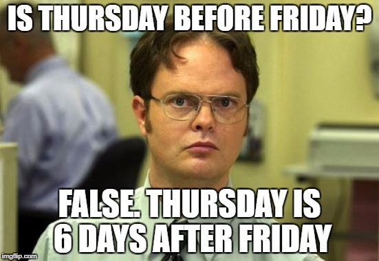 Dwight Schrute Meme | IS THURSDAY BEFORE FRIDAY? FALSE. THURSDAY IS 6 DAYS AFTER FRIDAY | image tagged in memes,dwight schrute | made w/ Imgflip meme maker