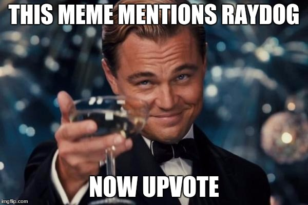 Raydog | THIS MEME MENTIONS RAYDOG NOW UPVOTE | image tagged in memes,leonardo dicaprio cheers | made w/ Imgflip meme maker