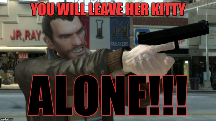 YOU WILL LEAVE HER KITTY ALONE!!! | image tagged in niko bellic angry | made w/ Imgflip meme maker