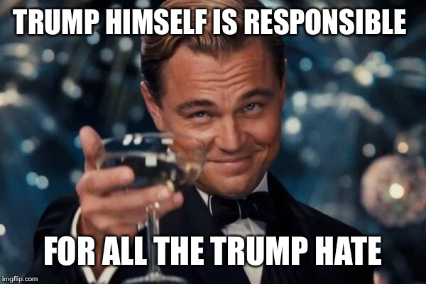 Leonardo Dicaprio Cheers Meme | TRUMP HIMSELF IS RESPONSIBLE FOR ALL THE TRUMP HATE | image tagged in memes,leonardo dicaprio cheers | made w/ Imgflip meme maker