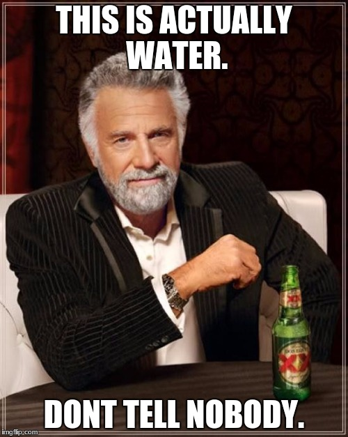 The Most Interesting Man In The World Meme | THIS IS ACTUALLY WATER. DONT TELL NOBODY. | image tagged in memes,the most interesting man in the world | made w/ Imgflip meme maker