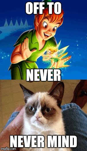 Grumpy Cat Does Not Believe | OFF TO NEVER MIND NEVER | image tagged in memes,grumpy cat does not believe,grumpy cat | made w/ Imgflip meme maker