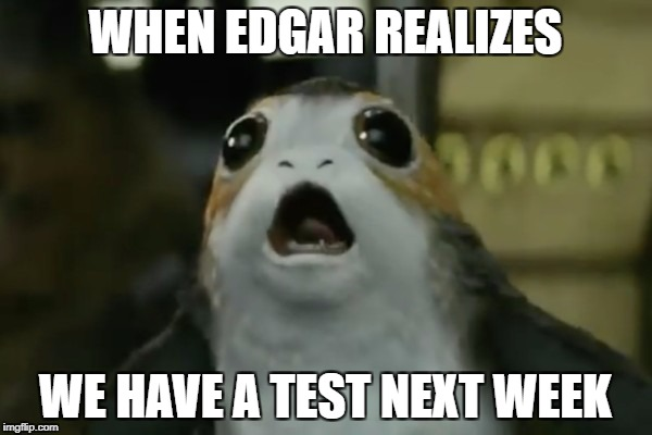 WHEN EDGAR REALIZES WE HAVE A TEST NEXT WEEK | image tagged in starwarsporg | made w/ Imgflip meme maker