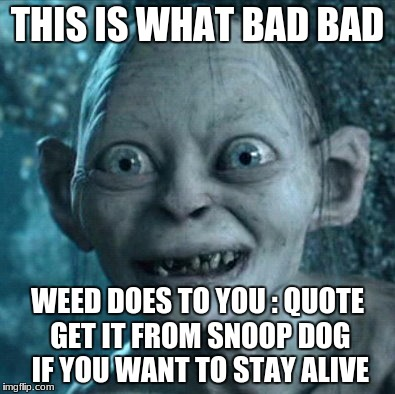 Gollum Meme | THIS IS WHAT BAD BAD WEED DOES TO YOU : QUOTE GET IT FROM SNOOP DOG IF YOU WANT TO STAY ALIVE | image tagged in memes,gollum | made w/ Imgflip meme maker