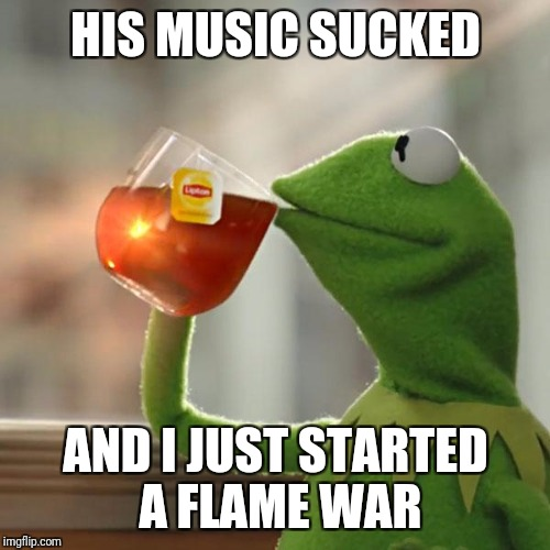 But Thats None Of My Business Meme | HIS MUSIC SUCKED AND I JUST STARTED A FLAME WAR | image tagged in memes,but thats none of my business,kermit the frog | made w/ Imgflip meme maker