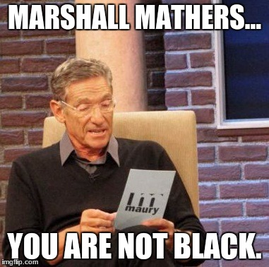 Eminem Finds Out His Father Was White | MARSHALL MATHERS... YOU ARE NOT BLACK. | image tagged in memes,maury lie detector,eminem funny,black,marshall mathers | made w/ Imgflip meme maker