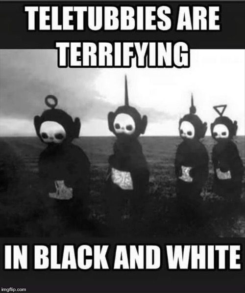 Meme Calamder; Black and White | image tagged in teletubbies | made w/ Imgflip meme maker
