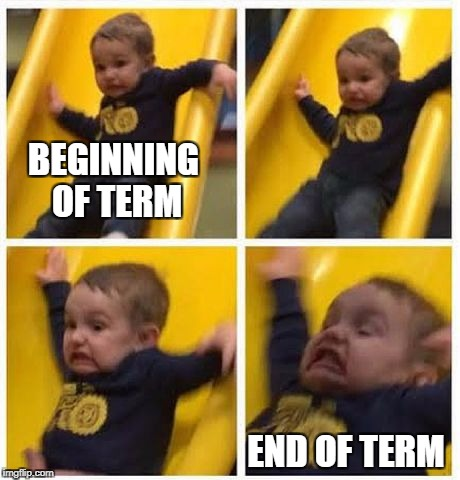 slide | BEGINNING OF TERM END OF TERM | image tagged in slide | made w/ Imgflip meme maker