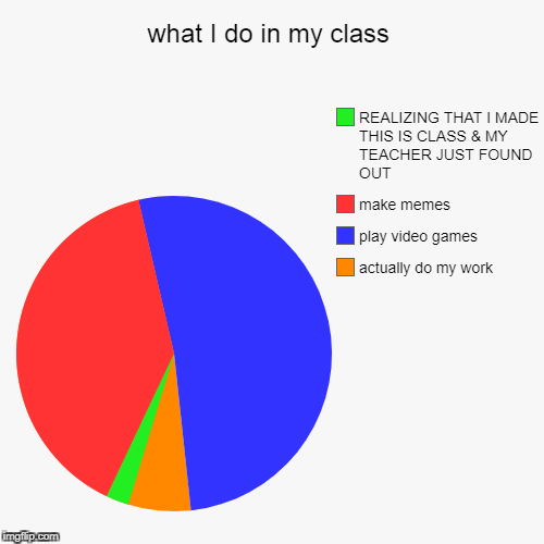 what I do in my class | actually do my work, play video games, make memes, REALIZING THAT I MADE THIS IS CLASS & MY TEACHER JUST FOUND OUT | image tagged in funny,pie charts | made w/ Imgflip pie chart maker