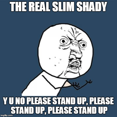 Y U No Meme | THE REAL SLIM SHADY Y U NO PLEASE STAND UP, PLEASE STAND UP, PLEASE STAND UP | image tagged in memes,y u no | made w/ Imgflip meme maker