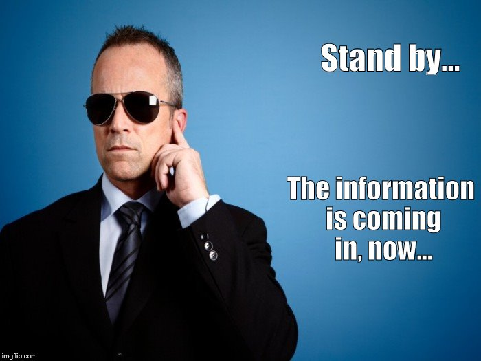 Secret Service Info | Stand by... The information is coming in, now... | image tagged in secret service,secret,tmi | made w/ Imgflip meme maker