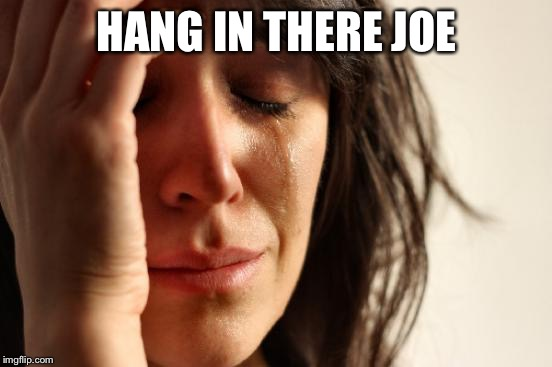 First World Problems Meme | HANG IN THERE JOE | image tagged in memes,first world problems | made w/ Imgflip meme maker