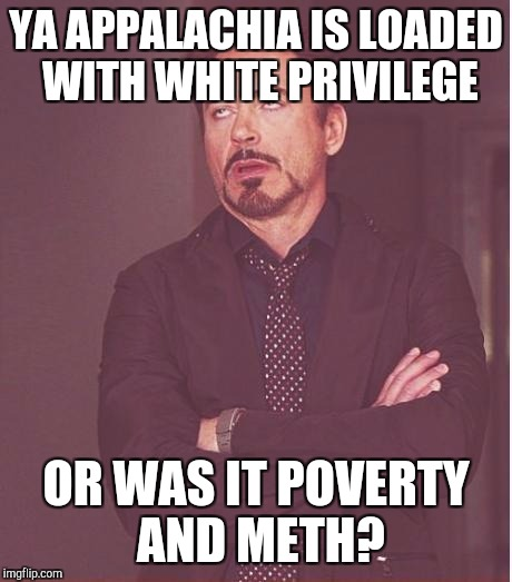 Face You Make Robert Downey Jr Meme | YA APPALACHIA IS LOADED WITH WHITE PRIVILEGE OR WAS IT POVERTY AND METH? | image tagged in memes,face you make robert downey jr | made w/ Imgflip meme maker