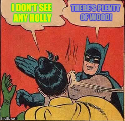 Batman Slapping Robin Meme | I DON'T SEE ANY HOLLY THERE'S PLENTY OF WOOD! | image tagged in memes,batman slapping robin | made w/ Imgflip meme maker
