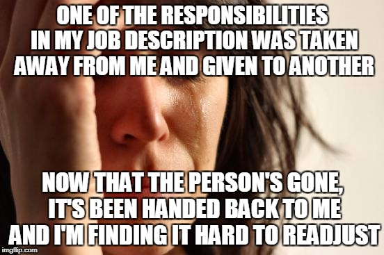 It's LITERALLY like learning how to walk again after a long time of not walking.... | ONE OF THE RESPONSIBILITIES IN MY JOB DESCRIPTION WAS TAKEN AWAY FROM ME AND GIVEN TO ANOTHER NOW THAT THE PERSON'S GONE, IT'S BEEN HANDED B | image tagged in memes,first world problems | made w/ Imgflip meme maker