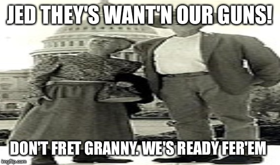 JED THEY'S WANT'N OUR GUNS! DON'T FRET GRANNY. WE'S READY FER'EM | image tagged in gun control | made w/ Imgflip meme maker