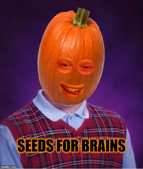 Bad Luck Pumpkin | SEEDS FOR BRAINS | image tagged in bad luck pumpkin,bad luck brian,seeds,pumpkin spice,ripper13 | made w/ Imgflip meme maker