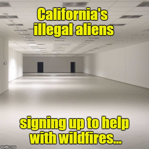 California's illegal aliens helping with wildfires | California's illegal aliens signing up to help with wildfires... | image tagged in empty room,california,illegal aliens,wildfires | made w/ Imgflip meme maker