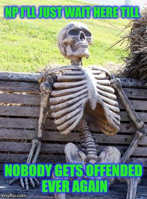 Waiting Skeleton Meme | NP I'LL JUST WAIT HERE TILL NOBODY GETS OFFENDED EVER AGAIN | image tagged in memes,waiting skeleton | made w/ Imgflip meme maker