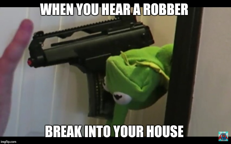 Robber | WHEN YOU HEAR A ROBBER BREAK INTO YOUR HOUSE | image tagged in kermit the frog,memes | made w/ Imgflip meme maker
