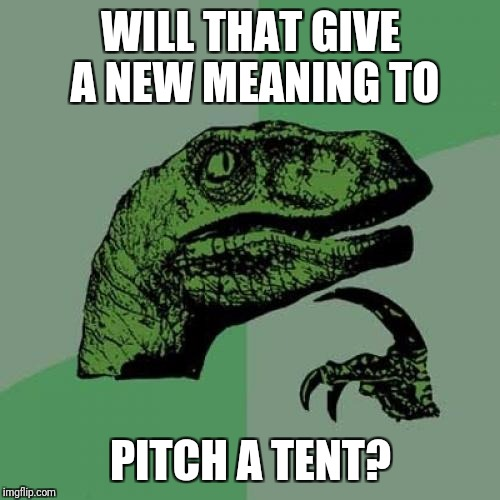 Philosoraptor Meme | WILL THAT GIVE A NEW MEANING TO PITCH A TENT? | image tagged in memes,philosoraptor | made w/ Imgflip meme maker