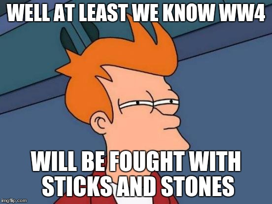 Futurama Fry Meme | WELL AT LEAST WE KNOW WW4 WILL BE FOUGHT WITH STICKS AND STONES | image tagged in memes,futurama fry | made w/ Imgflip meme maker